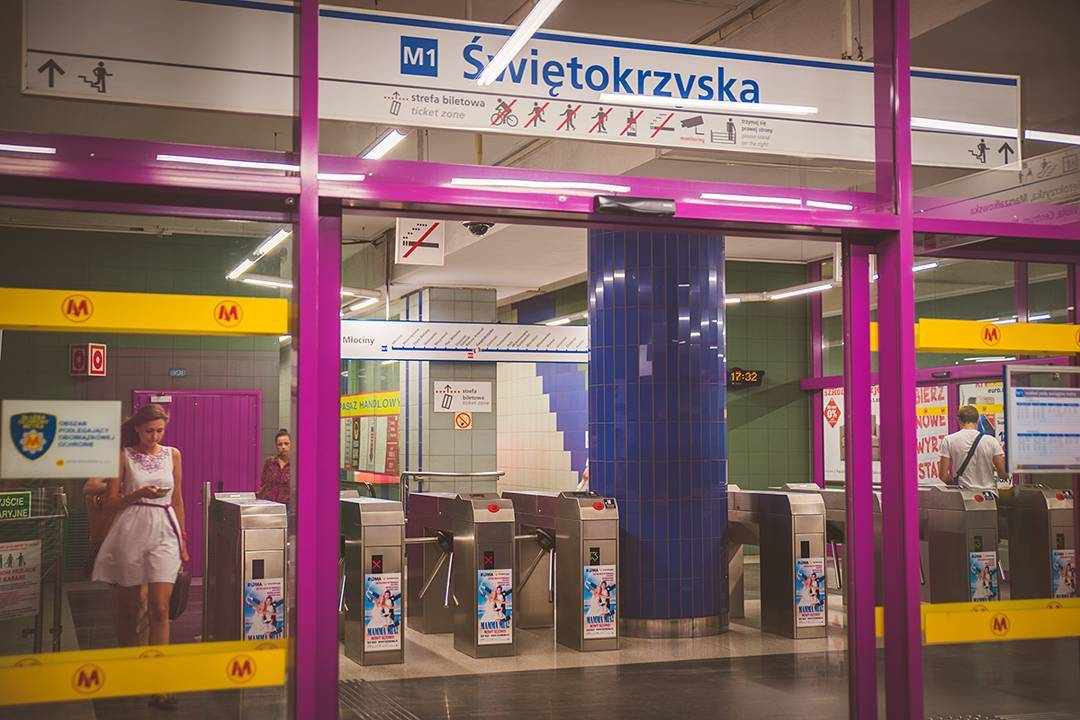 The Warsaw subway system is not afraid of color. (Also, why does every mass transit system in the world look more modern than NYC's?)