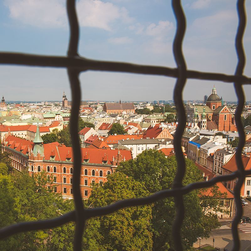 Overlooking Krakow from the top of the belltower in Wawel Cathedral, where we saw the Royal Sigismund Bell. Cast in 1520, it takes 12 sturdy dudes to ring it, and climbing the steep stairs up to the tower is no joke, either.
