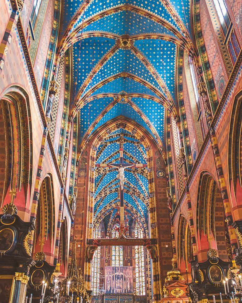 Inside St. Mary's Basilica in Krakow. Tell me you don't love a blue ceiling.