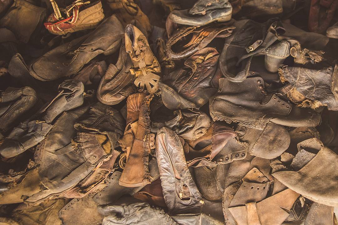 Shoes collected from the prisoners at Auschwitz.