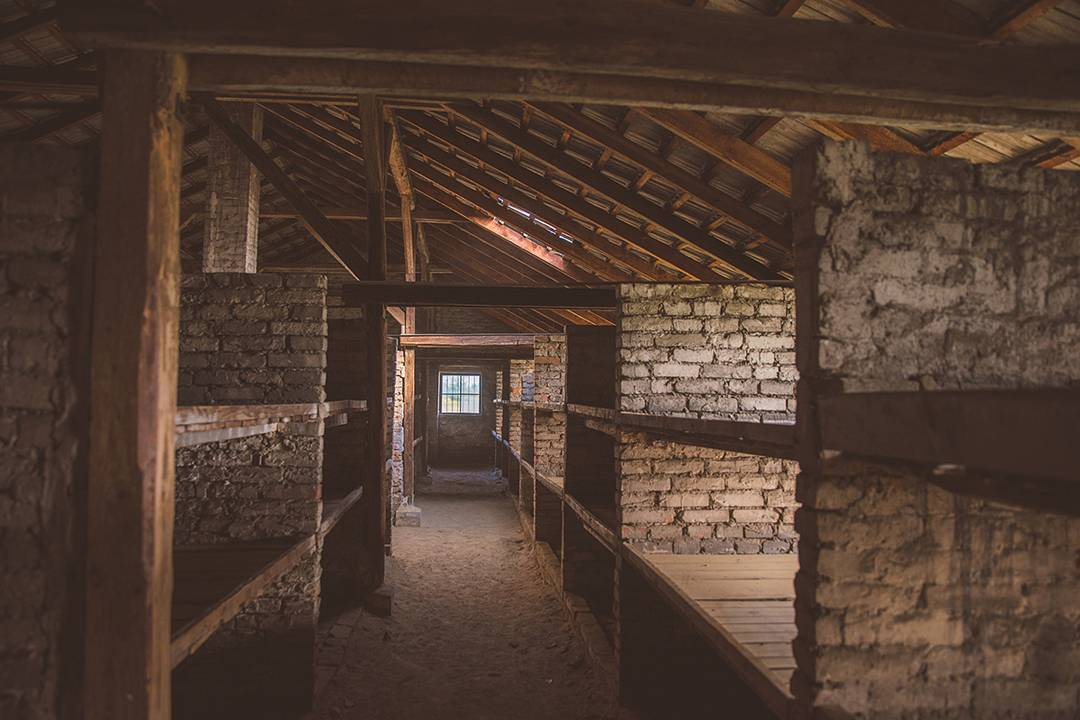 The barracks at Auschwitz-II-Birkenau, where ten people shared each compartment, sleeping on their clothes.