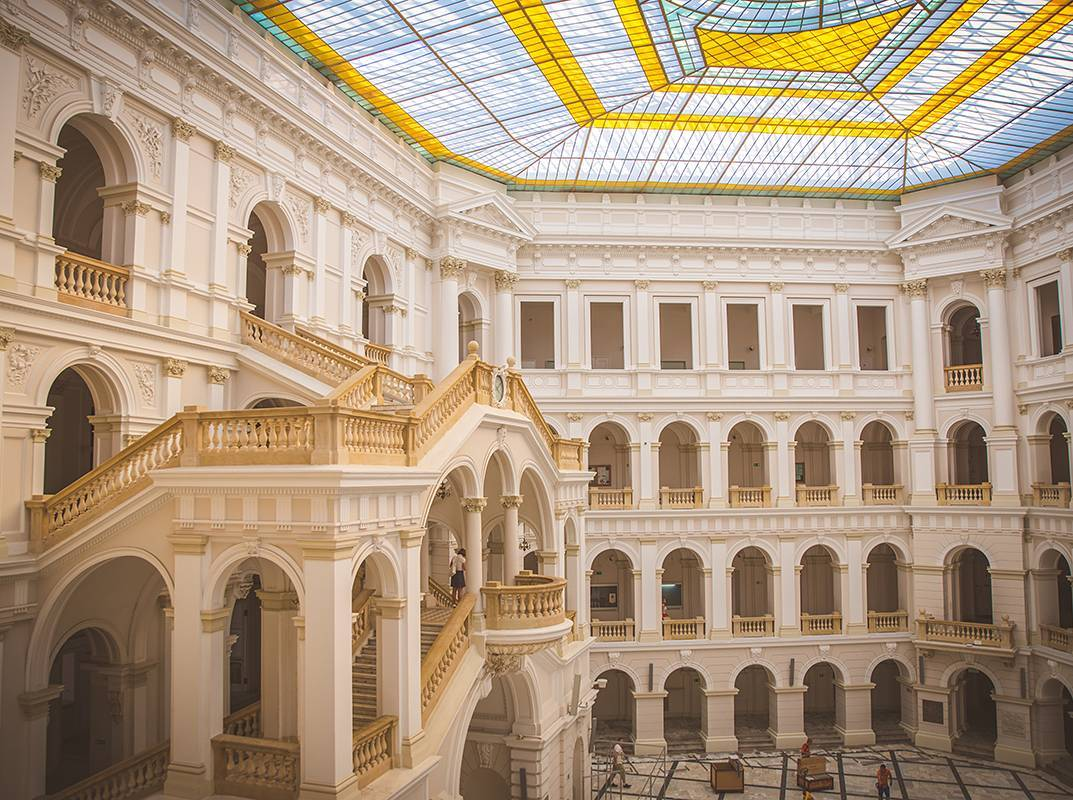 Inside the Politechnika Warszawska (Warsaw University of Technology) with its beautiful glass roof.