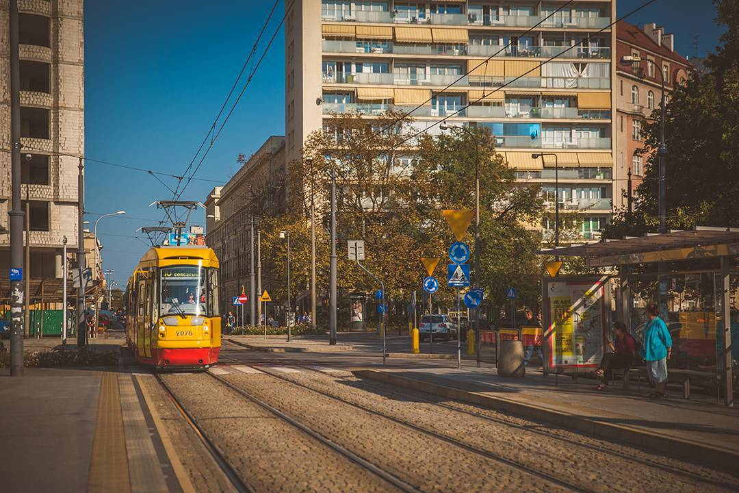 One of the super newfangled street trams in Warsaw, Poland. Not air-conditioned when we were there in September, though, because you know Europe.