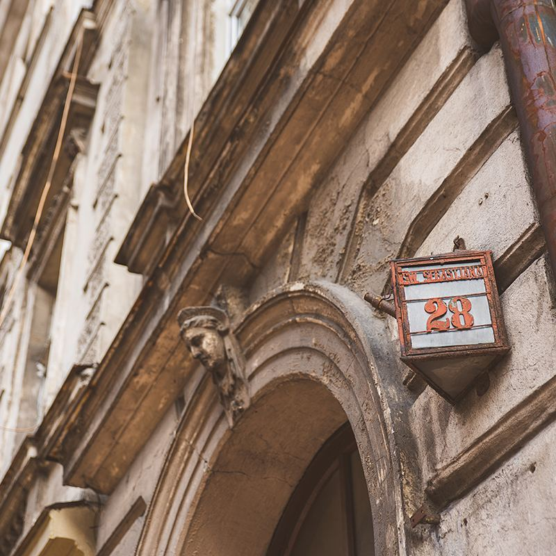 I couldn't get enough of the old street signs in Kraków, Poland.
