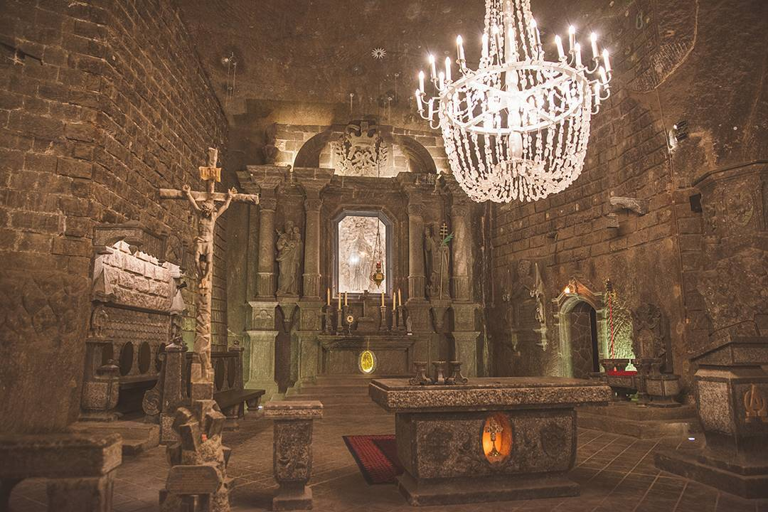 The alter at St. Kinga's Chapel deep underground in the Wieliczka Salt Mine.
