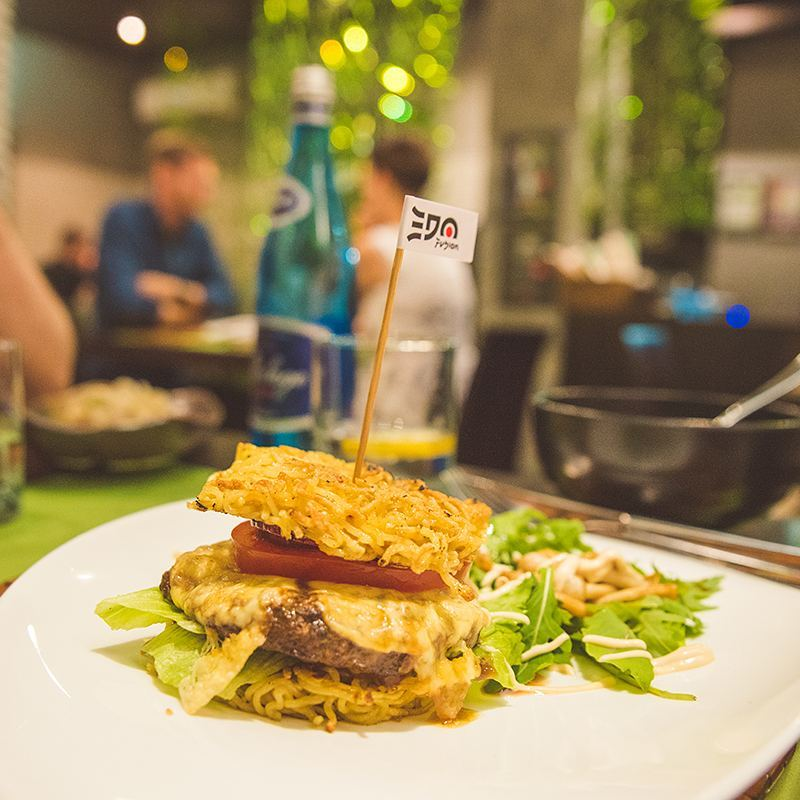 Returning to Krakow after our tours of Auschwitz and the Wieliczka Salt Mine, we had dinner at Edo Fusion, where I had my first ramen burger using fried noodles instead of a bun! You'll note that the ramen burger was invented in New York City, WHERE I LIVE, but I went to Poland to have one.