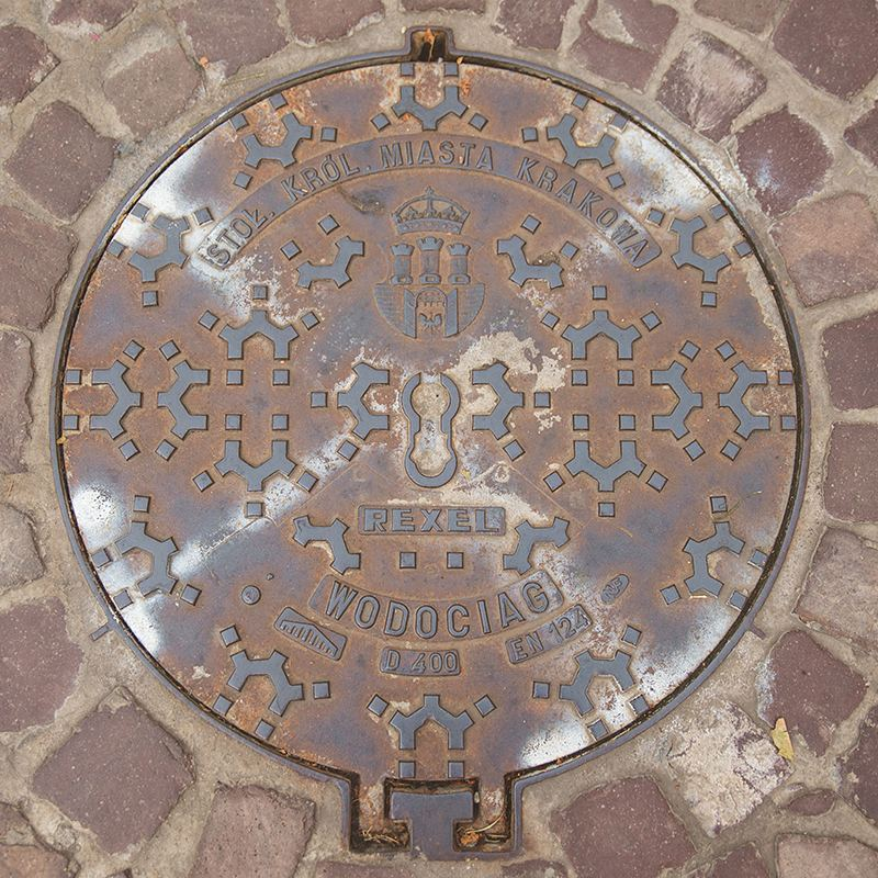Waterworks of the Royal Capital City of Kraków! I just thought this looked cooler than the manhole covers to the NYC sewer.